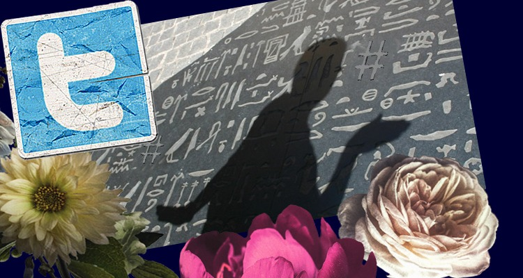How to use Twitter hashtags - shadow of a man in front of hieroglyphics