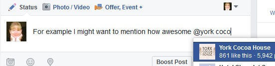 Facebook Business Page - mention other businesses