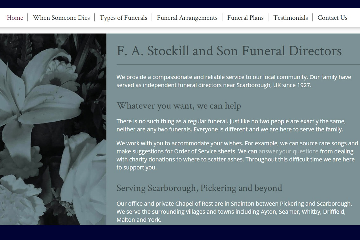 Web content from scratch - navigation for funeral directors