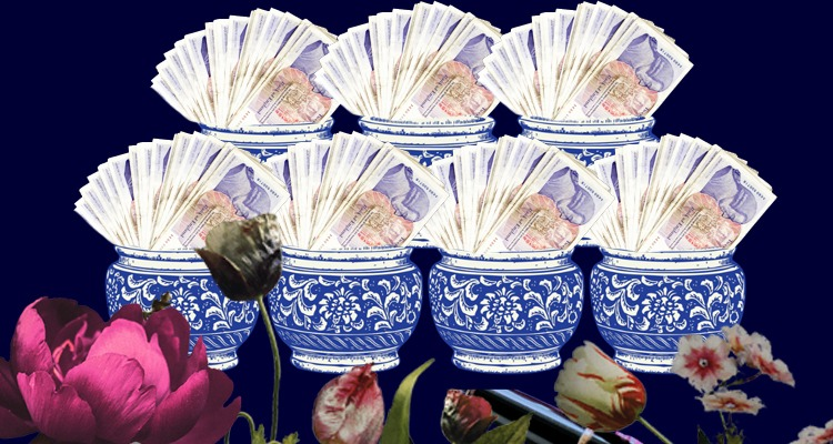 Profit First for UK freelancers - header image of pots containing fans of 20 pound notes